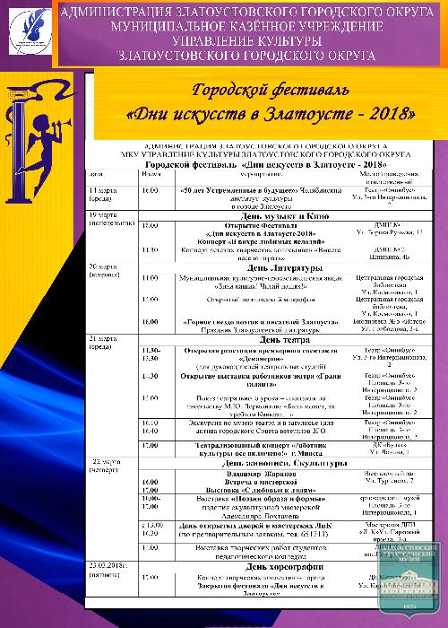 фестиваль «Дни искусств в Златоусте - 2018»